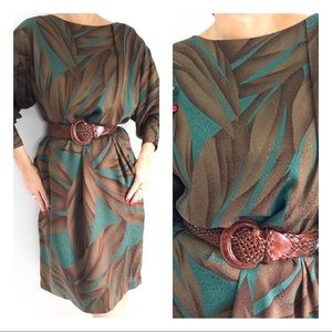 Vintage Silk Hanae Mori Jungle Print Shift Dress